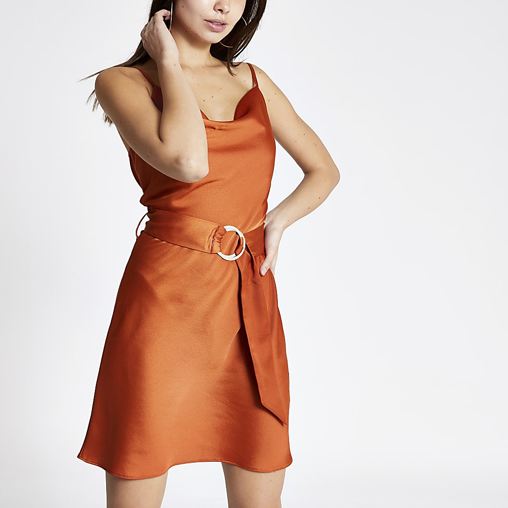 Rust cowl neck belted slip dress