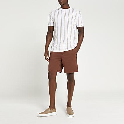 Rust elasticated waist slim fit chino shorts