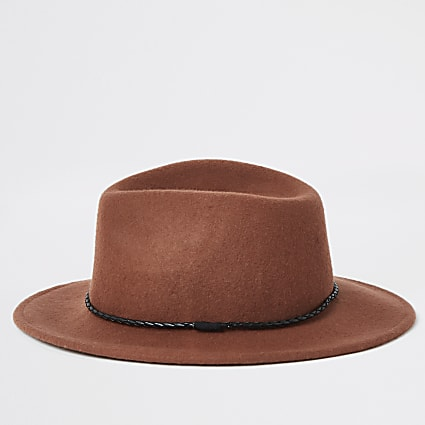 Rust faux leather rope trim fedora hat