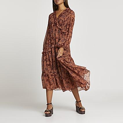 Rust floral ruffle detail smock midi dress