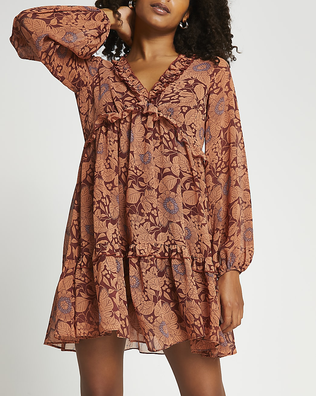 Rust floral ruffle smock mini dress