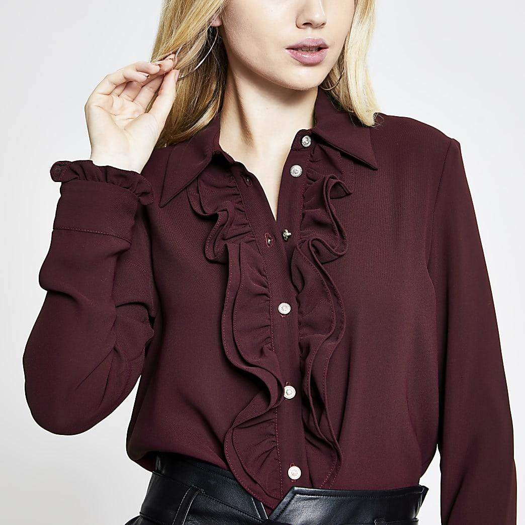Rust frill front long sleeve shirt