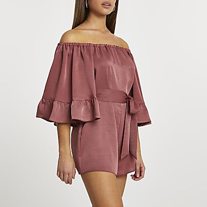 Rust frill sleeve bardot playsuit