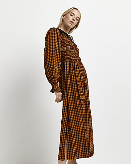 Rust gingham shirred midi dress