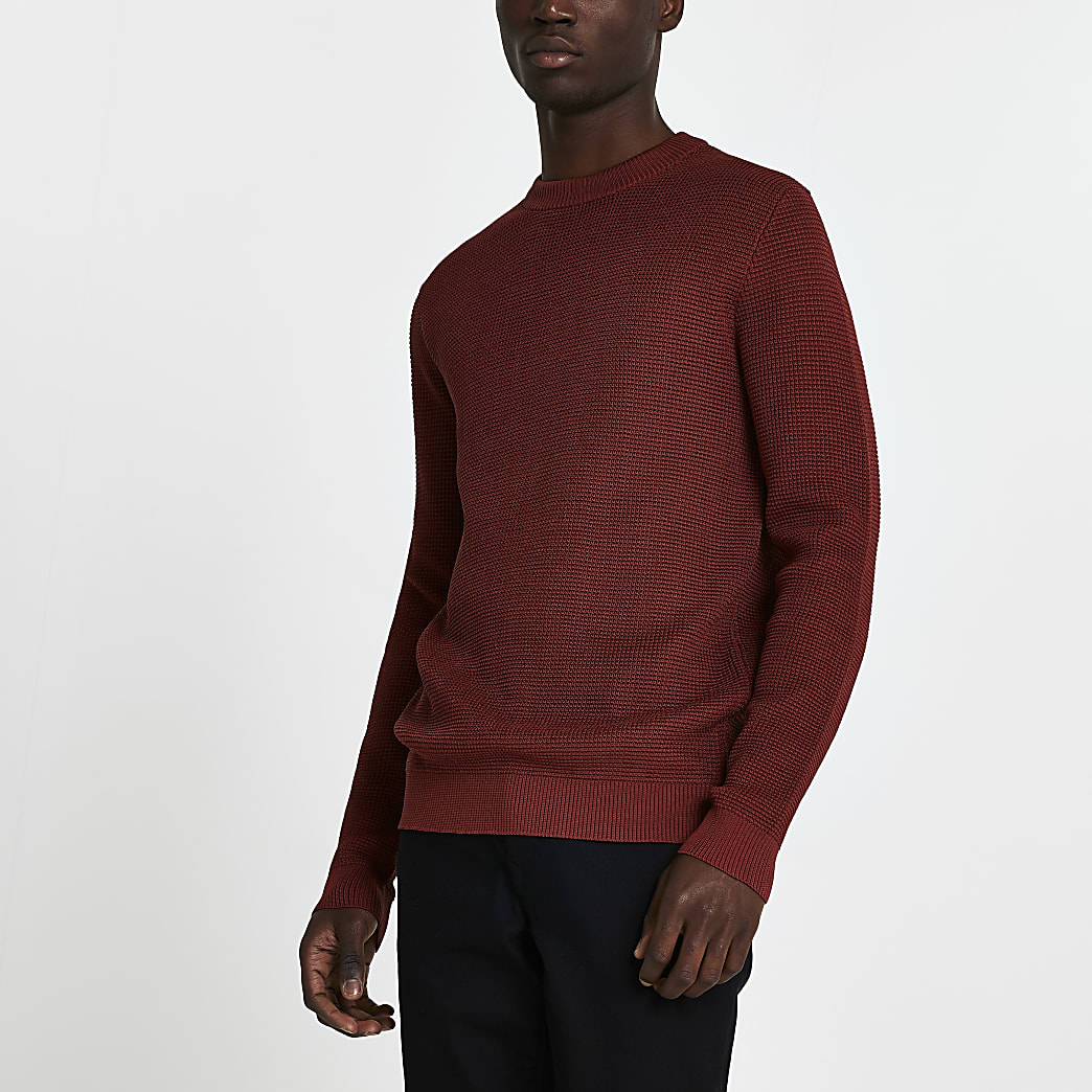 Rust knitted slim fit long sleeve jumper