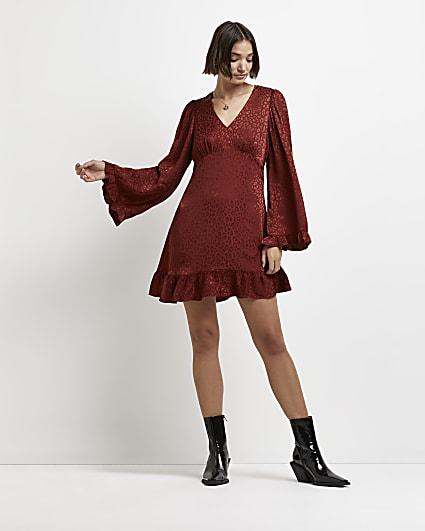 Rust leopard print jacquard mini dress
