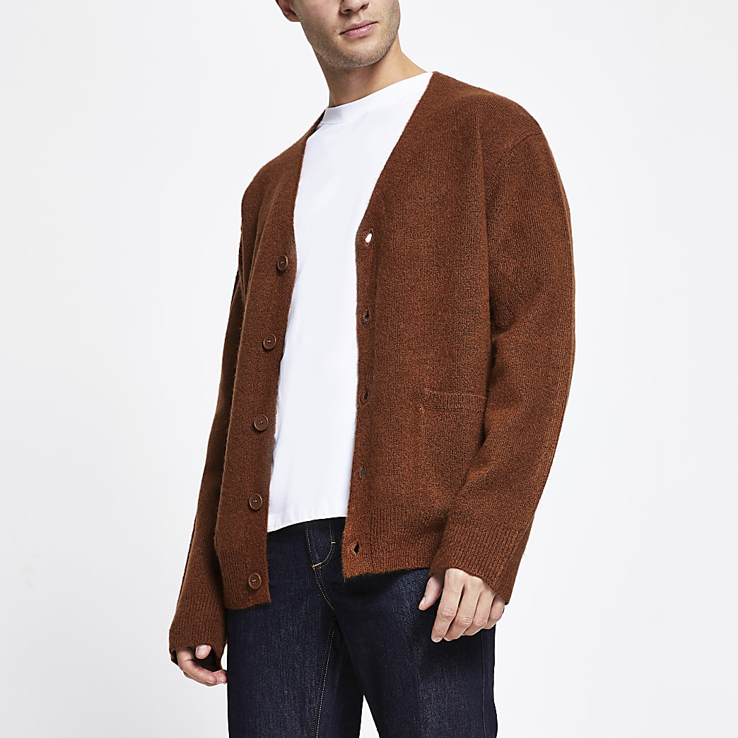 Rust long sleeve boxy cardigan