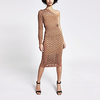 Rust mesh knitted midi skirt