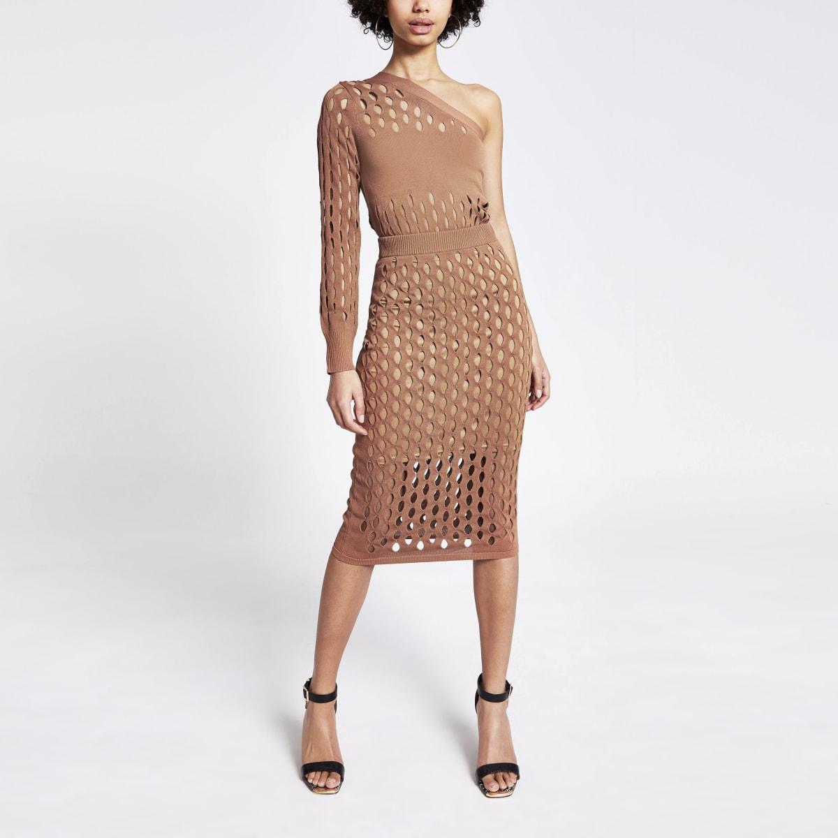 Rust mesh knitted midi skirt