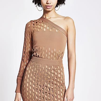 Rust mesh one shoulder knitted top