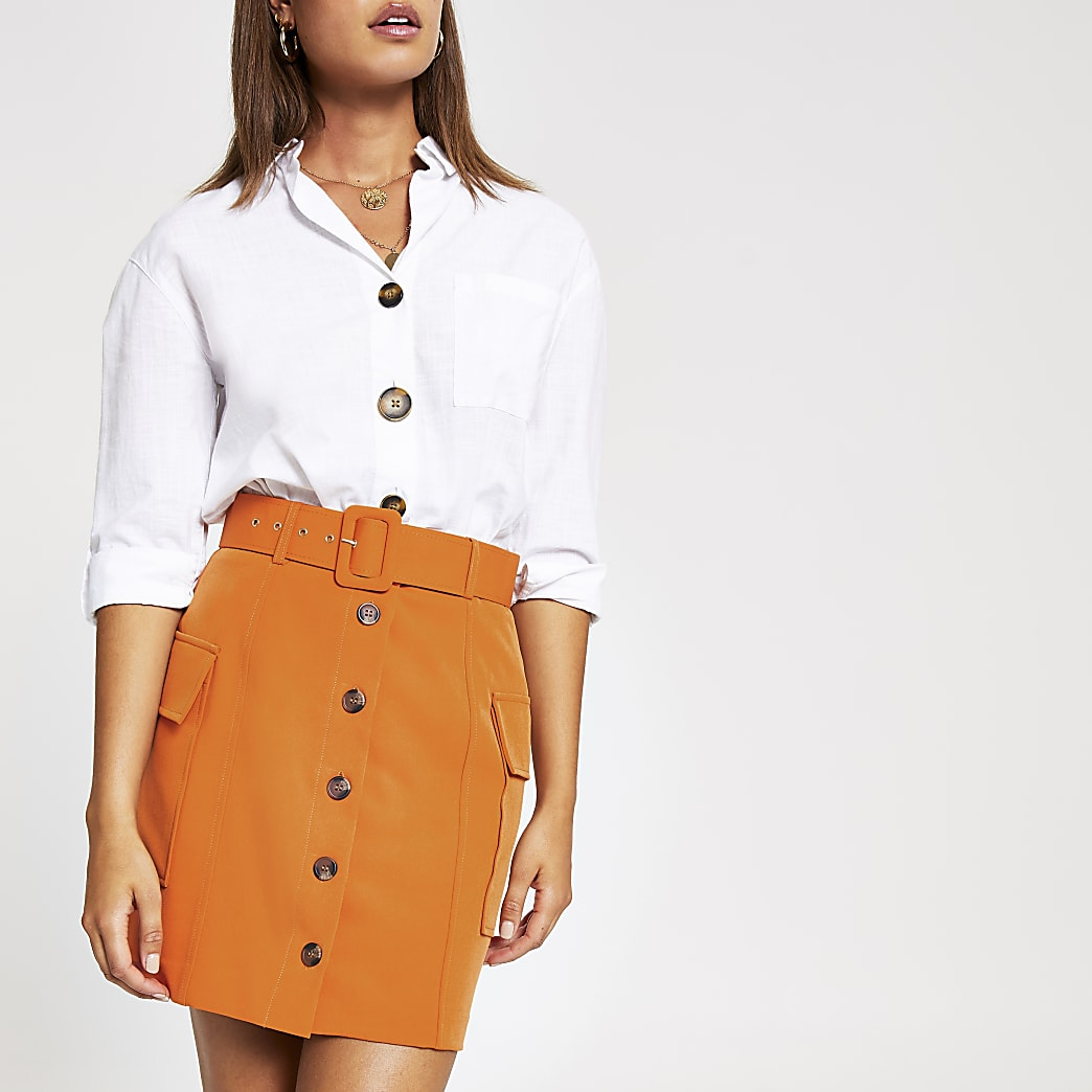 Rust orange belted utility mini skirt