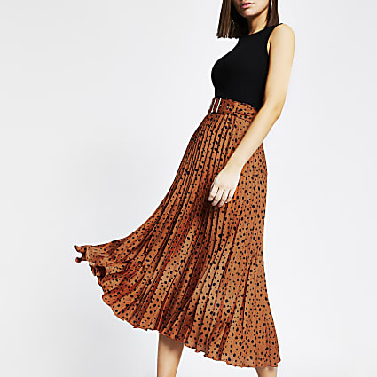 Rust print pleated midi skirt