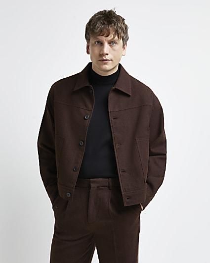 Rust regular fit button down worker jacket