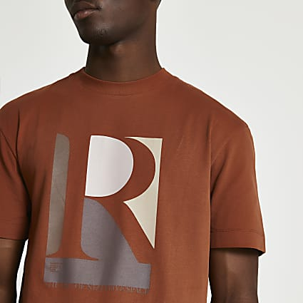 Rust regular fit graphic t-shirt