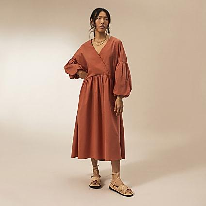 Rust RI Studio cotton oversized dress
