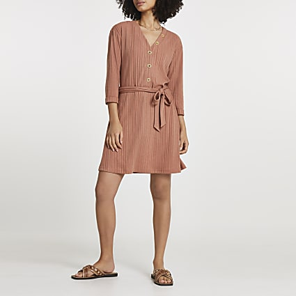 Rust ribbed tie waist mini dress