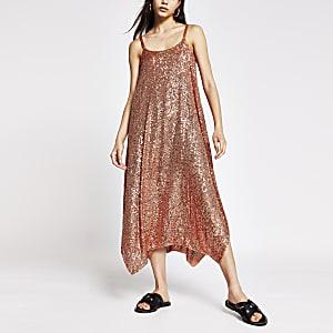 Rust sequin cami dress