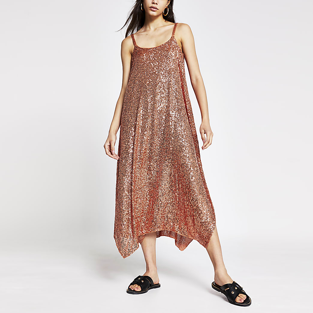 Rust sequin cami dress