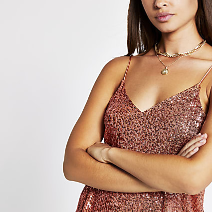Rust sequin cami top