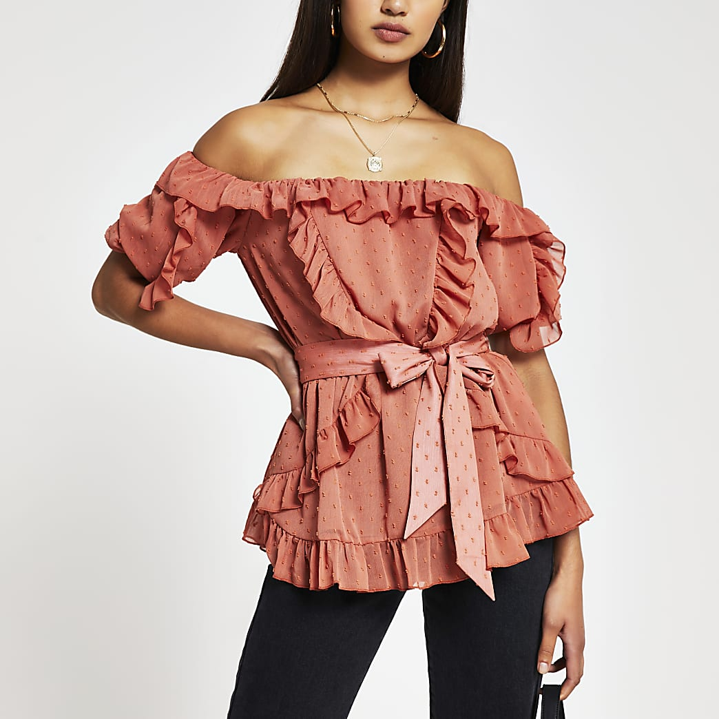 Rust short sleeve soft frill bardot top