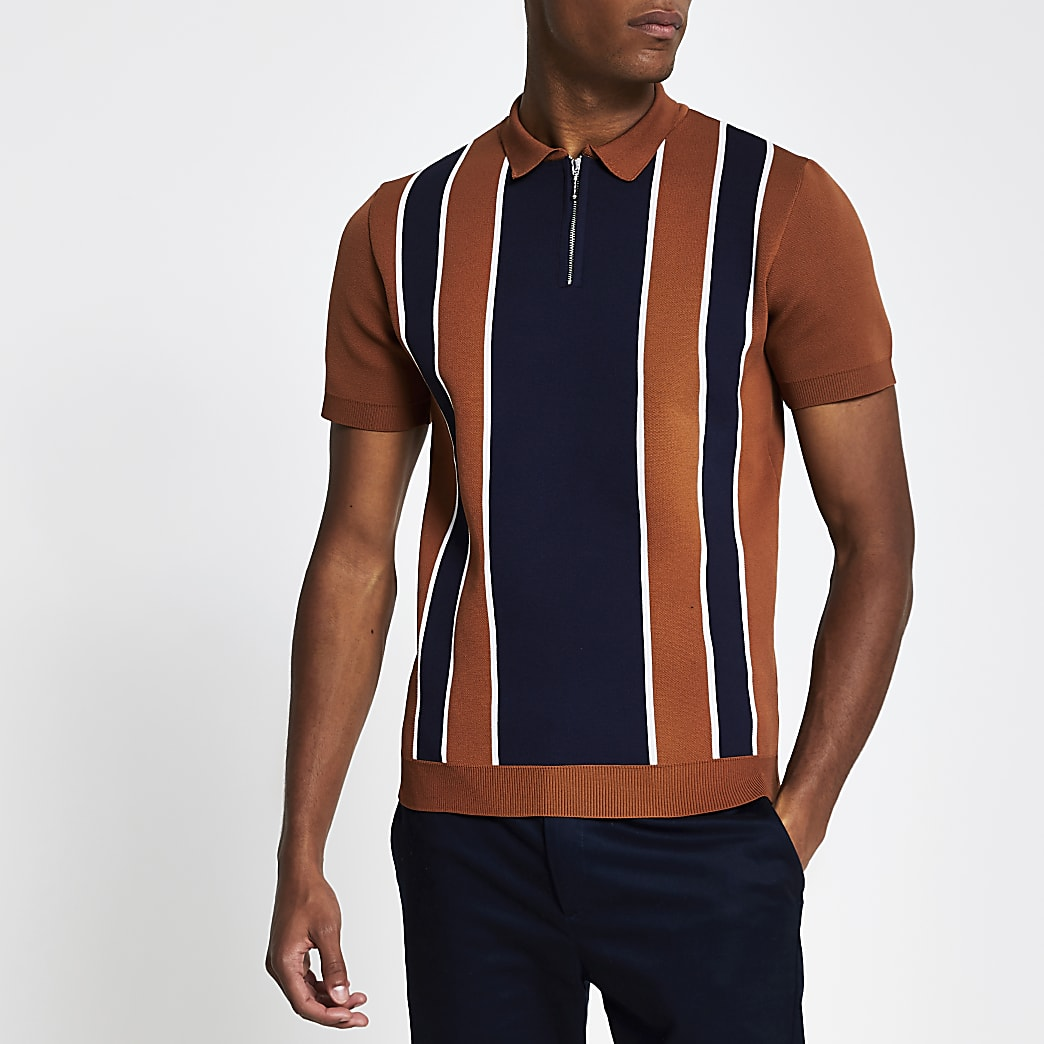 Rust short sleeve stripe knitted polo shirt