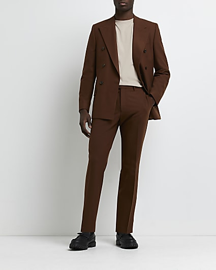 Rust skinny fit suit trousers