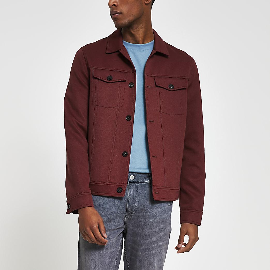 Rust skinny fit western jacket
