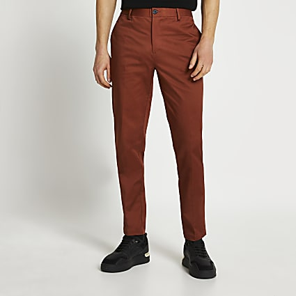 Rust slim fit chino trousers