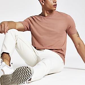 Roestbruin slim-fit T-shirt met ronde hals