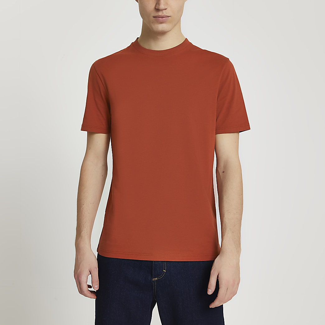 Rust slim fit short sleeve t-shirt