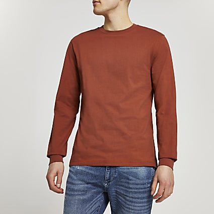 Rust stepped hem cuff slim fit t-shirt