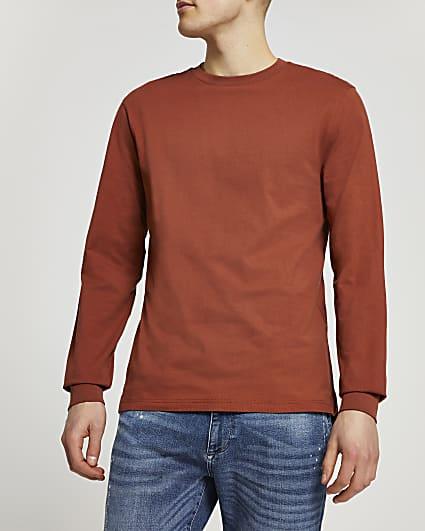 Rust stepped hem cuff slim fit t-shirt
