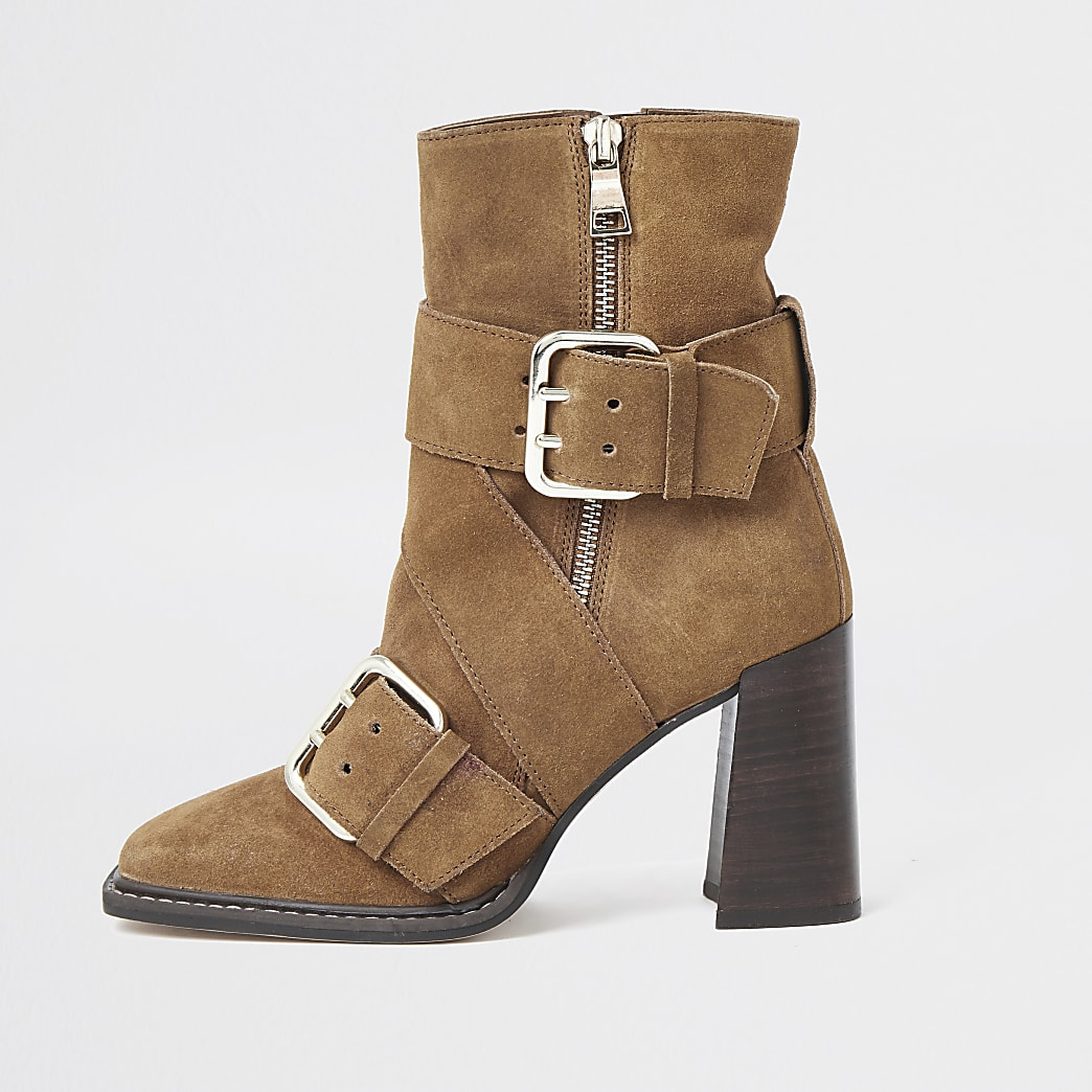 Rust suede buckle square toe boot