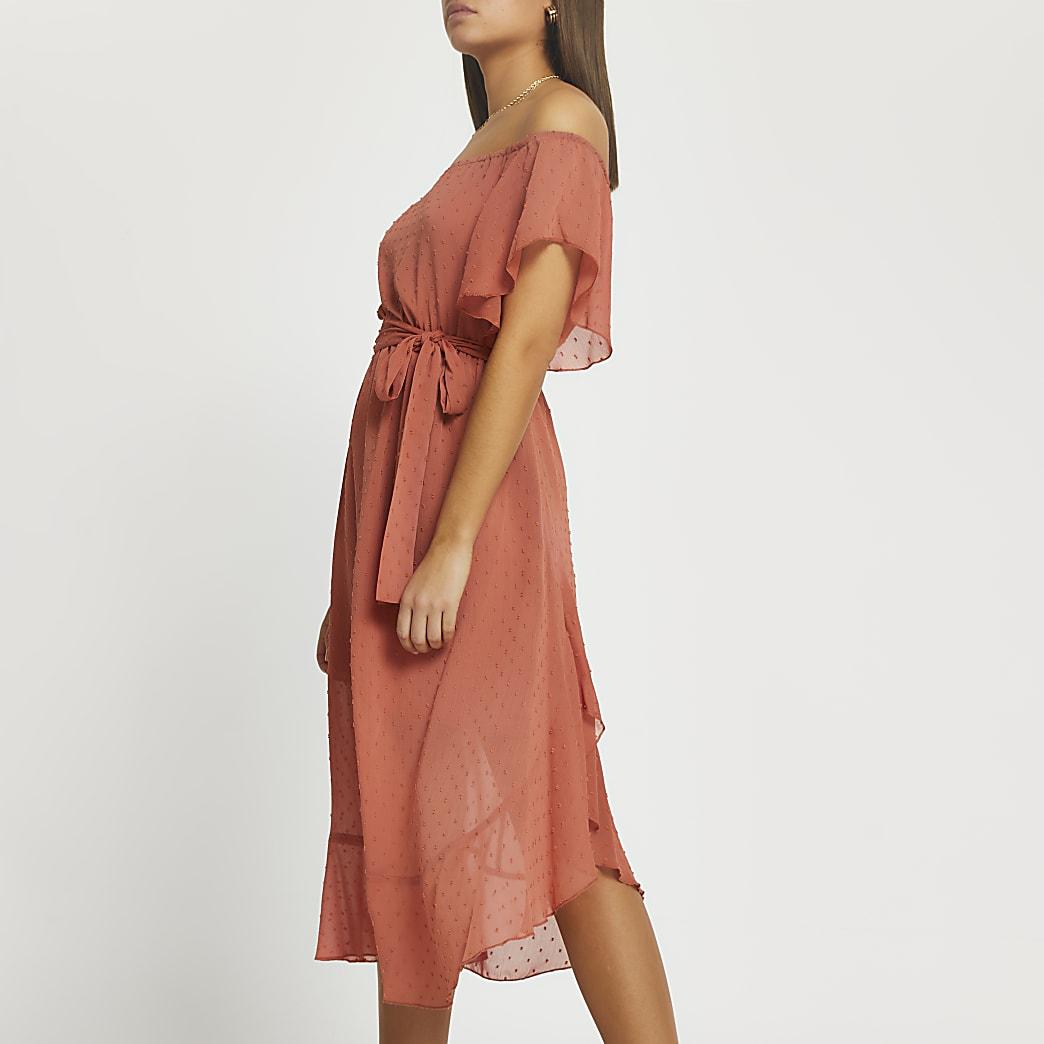 Rust tie waist bardot maxi dress