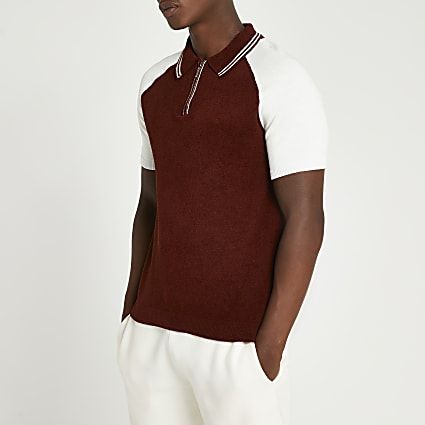 Rust towelling zip short sleeve polo shirt