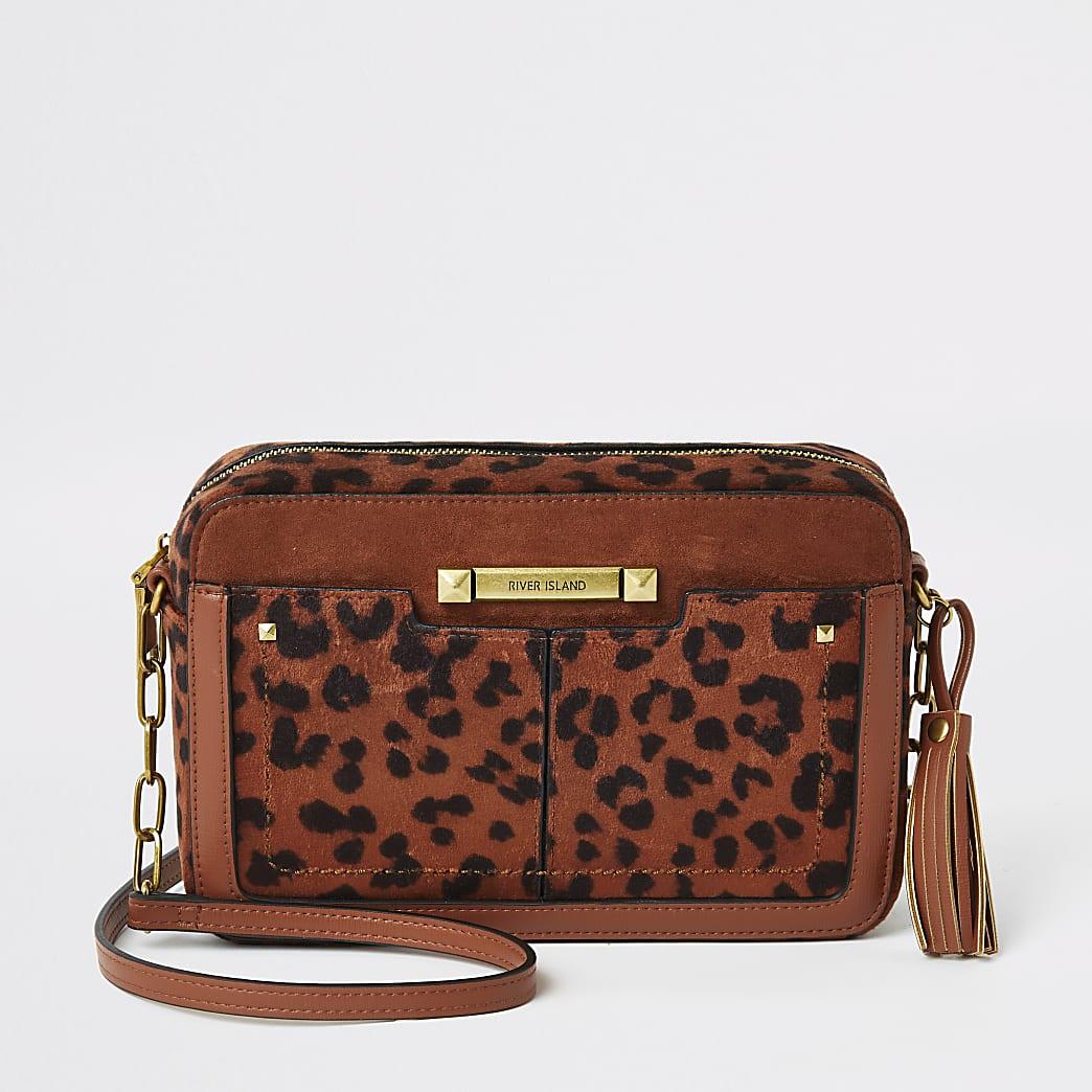 Rust velvet leopard printed cross body bag