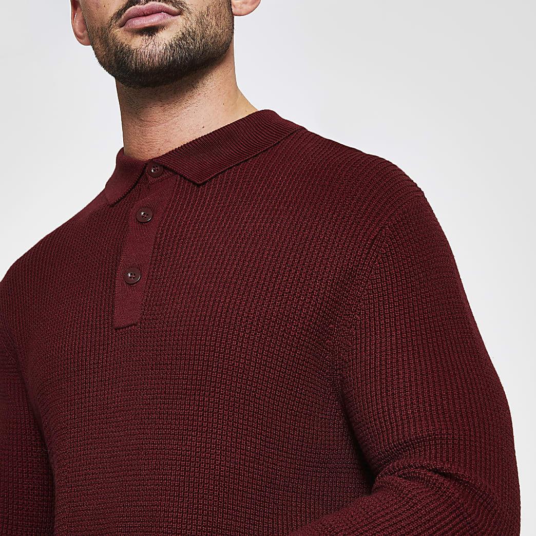 Rust waffle knitted long sleeve polo shirt