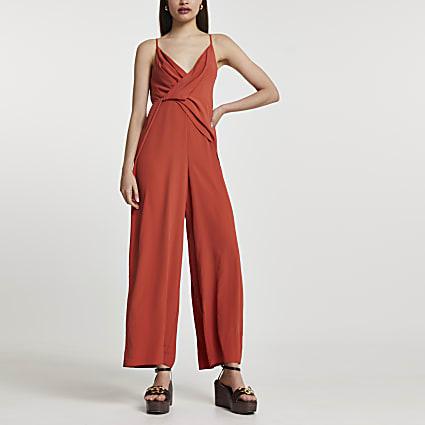 Rust wide leg backless jumpsuit
