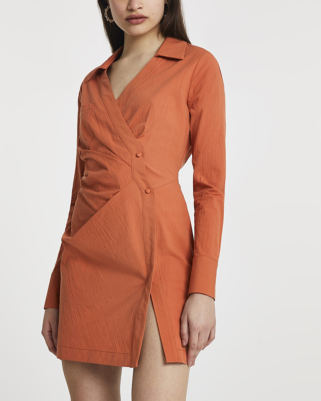 Rust wrap shirt mini long sleeve dress