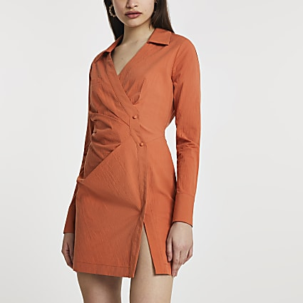 Rust wrap shirt mini long sleeve dress