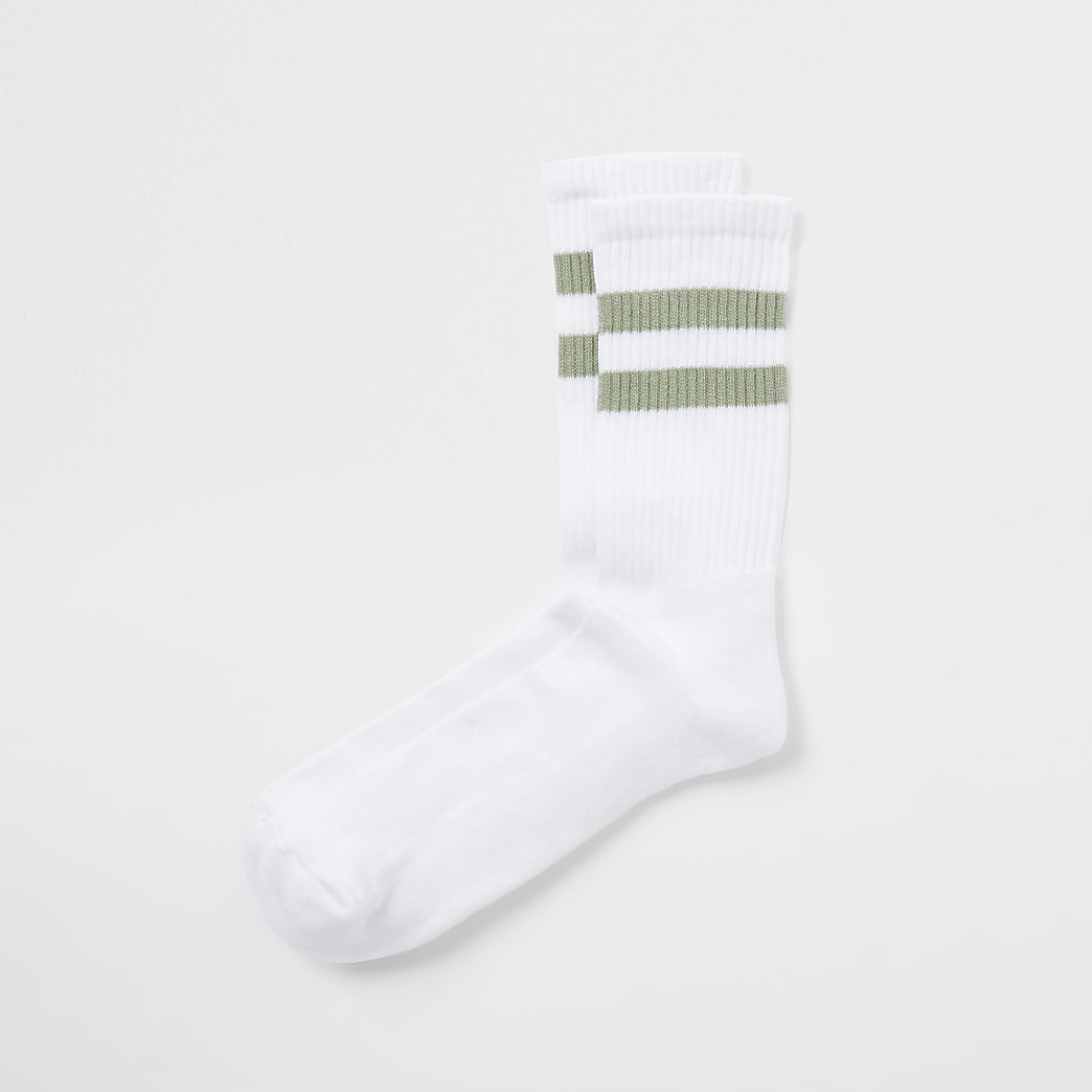 Sage double stripe white tube socks