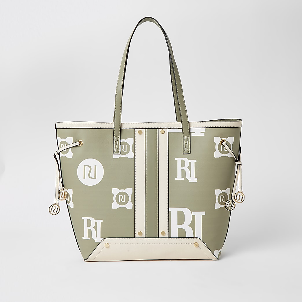 Sage Green RI printed shopper Handbag