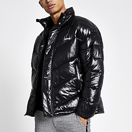 Schott black nylon puffer jacket