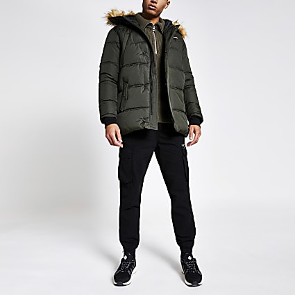 Schott khaki faux fur hood padded jacket