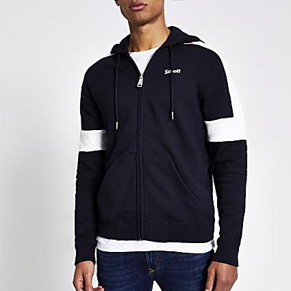 Schott navy colour block zip up front hoodie