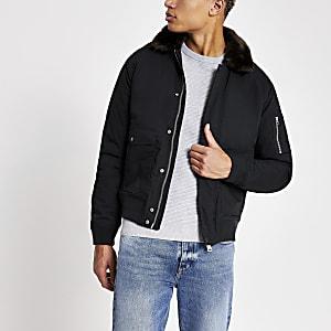 Schott – Marineblaue Jacke mit Kunstfellkragen