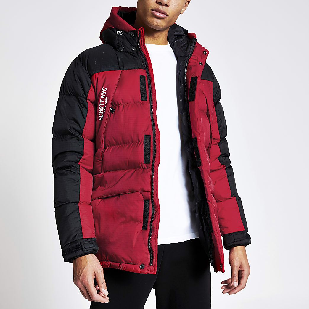 Schott red padded parka jacket