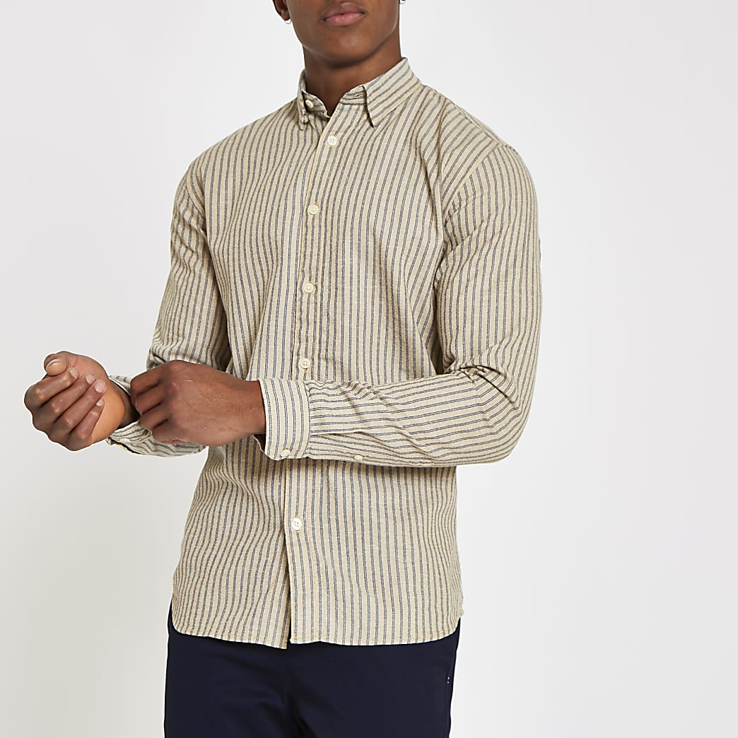 Selected Homme - Beige gestreept overhemd met normale pasvorm