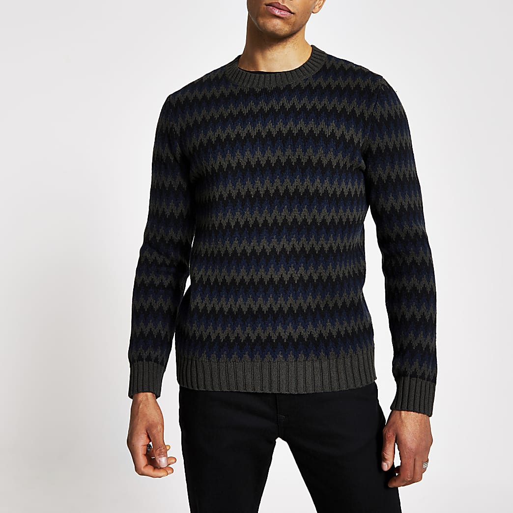 Selected Homme black printed knitted jumper