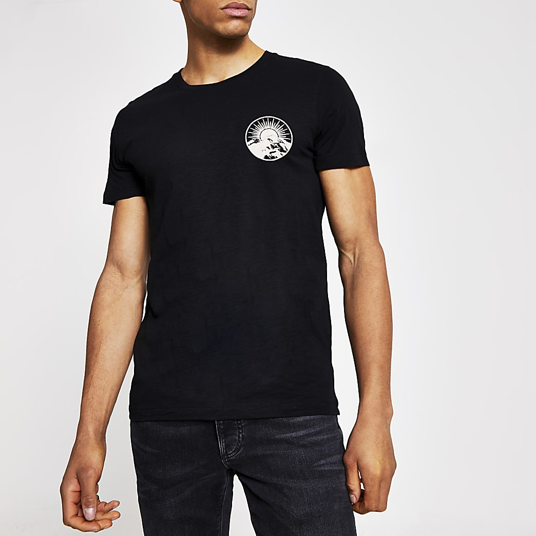 Selected Homme - Zwart T-shirt met print